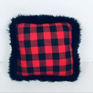 Hobby Lobby Checked W/ Faux Fur Trim Accent Pillow